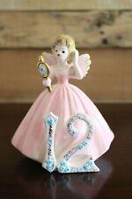Josef Originals Birthday Girl Angel Figurine holding mirror Age 12 Vintage 1980