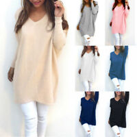 Women V Neck Long Sleeve Jumper Top Knit Sweater Loose T Shirts Mini Dress Tunic