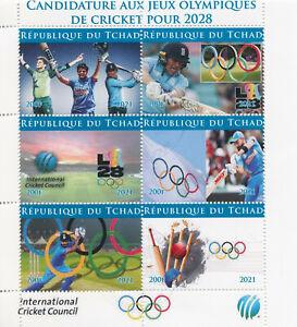 Chad 2021 CTO Olympics Stamps Cricket Bid Summer Games 2028 Sports 6v M/S