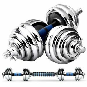 Chrome Cast Iron 20Kg Dumbbell Set Barbell With Case Weight Fitness Lifting UK