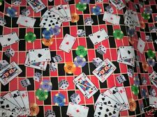 GAMES FABRIC COTTON QUILTING FABRIC cards poker chips dice game time BTY NEW