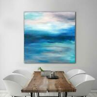 Original Abstract Painting 36x36 Large Canvas Art Gray/Blue Textured Abstract
