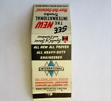 VINTAGE MATCHBOOK IHC INTERNATIONAL HARVESTER CANADA TRUCKS