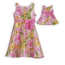Dollie and Me Floral Dress with Matching Outfit for 18 inch Play Doll 4T/4