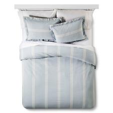 Linen Stripe Duvet and Sham Set King Light Blue - The Industrial Shop