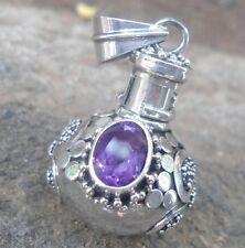 925 Sterling Silver-IL90-Balinese Perfume Bottle/Locket Pendant & Amethyst Cut