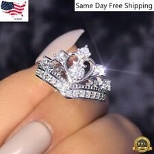 Women Queen Crown Jewelry 925 Silver Rings White Sapphire Wedding Ring Size 6-10