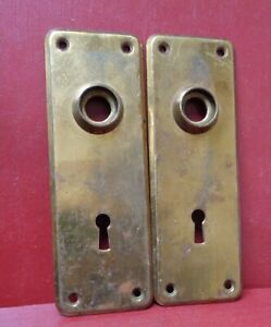 "2 VINTAGE BRASS ""NOT STEEL"" BACK PLATES 6 3/4"" X 2"""