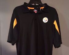 Pittsburgh Steelers small Polo shirt Yellow Black NFL Majestic New