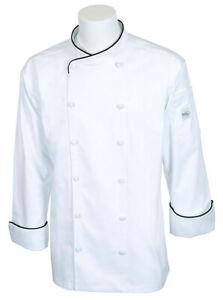 Mercer Renaissance Cutlery Men's Chef Jacket (Scoop Neck) | White w/ Black Pi...