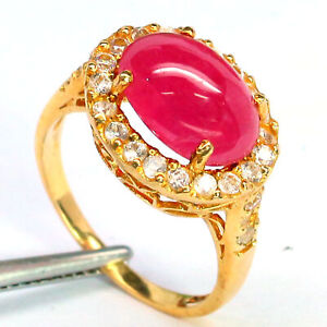 NATURAL 8 X 12 mm. CABOCHON RED RUBY & WHITE CAMBODIA ZIRCON RING 925 SILVER