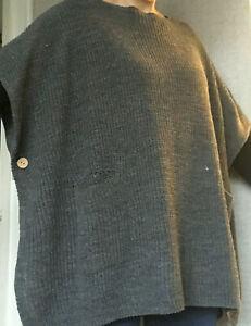 Nabella poncho top grey knit one size 12-18 uk cardigan sweater
