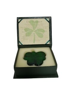 Vintage Roman Inc Green Glass Shamrock Paper Weight Collectable Decor St....