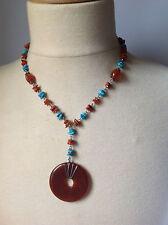 collier fantaisie pierre imitation turquoise et ambre médaille / 125