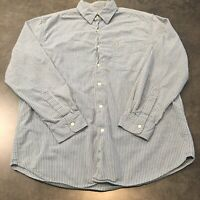 Nautica Men's Medium Long Sleeve Button Down Shirt | Light Blue Striped | Cotton