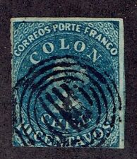 506 CHILE STAMP # 6 wmk 3 FIRST ISSUES THREE MARGINS COLUMBUS