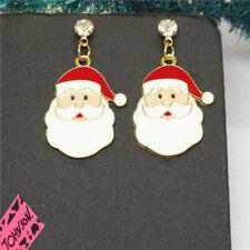 Betsey Johnson Women Stand Earring White Enamel Cute Christmas Santa Crystal