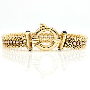 Italian Caviar Chain Bracelet in 14k Yellow Gold with Cabochon Onyx