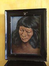 huile sur toile portrait Homme  signé SAUGEL - amerique du nord young INUIT