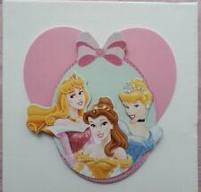 cinderella, belle & elsa 3d white & pink picture canvas 20x20cm