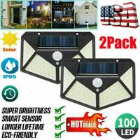 2×100LED Solar Power PIR Motion Sensor Wall Light Garden Yard Lamp Waterproof US