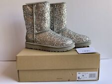 NEW UGG BOOTS CLASSIC SHORT COSMOS SILVER SPARKLE GLITTER WOMAN'S SIZE 6 $190