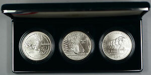 1994 US Veterans Commemorative 3 Coin Silver Dollar UNC Set w/ Box & COA DGH