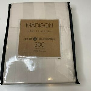 Madison home collection set of 4 pillowcases 300 thread count 100% cotton stripe