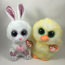 "2020 Easter Set of 2 TY Beanie Boos 6"" SLIPPERS Bunny & LEMON DROP Chick MWMTs"