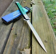 "13"" Duck Extra Large Spring Assisted Open Green PAKKA WOOD STILETTO Pocket Knife"