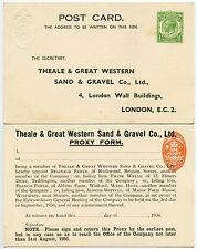 GB KG5 1936 STATIONERY 1d STAMP DUTY + PRINTED STO 1/2d THEALE + GT.WESTERN SAND