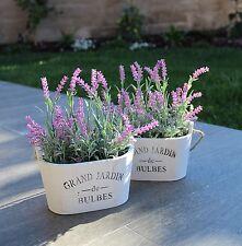 Purple Silk Floral Arrangements Faux Lavender Flower Plant Home Office Décor ...