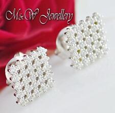 925 Silver Rhodium Plated Stud Earrings RHOMBUS Clear Cubic Zirconia