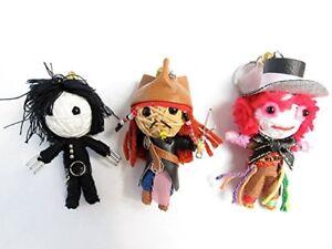 Johnny Depp 3 String Doll Jack Sparrow Edward Scissorhands Mad Hatter Keychain
