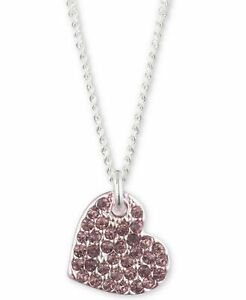 NWT DKNY Two-Tone Micro Pavé Crystal Pink Heart Pendant Necklace-Very Pretty!