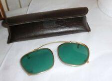 Vintage Clip-On Sunglasses Green Glass Aviator Specs Gold Rim