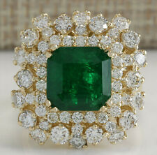 7.05 Carat Natural Emerald 14K Solid Yellow Gold Diamond Ring