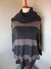 Women's FENN WRIGHT MASON Knit Poncho Wrap Brown Black Striped Sweater Medium