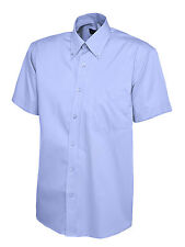"Uneek Uc702 Mens Pinpoint Oxford Weave Short Sleeve Shirt Button Down Collar XL 17.5"" Mid Blue"
