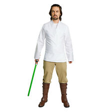 Star Wars Jedi Tunic Shirt Belt Luke Skywalker Obi Wan Men's Costume White Beige