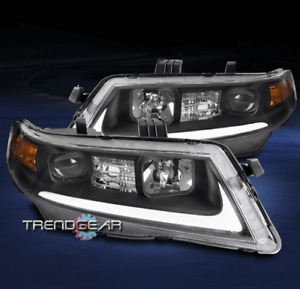 FOR 2004-2008 ACURA TSX CL9 LED BAR TUBE PROJECTOR HEADLIGHTS LAMPS BLACK LH+RH