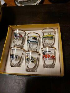 Shot/Sherry Glasses Retro/Vintage 6 car Design Boxed