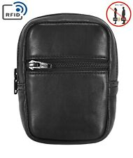 Genuine Leather Cigarette Case with RFID Blocking Card Pocket Belt Loop Pouch