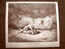 Incisione Gustave Dorè 1890 Capocchio e Gianni Schicchi Divina Commedia Inferno
