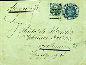 ARGENTINA PORTUGAL 50r W/ PROVISORIO OVPT ON 15c ENVELOPE TO GERMANY W/ FAULTS