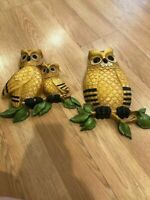 """Vintage Homco Large Pair 2 Owl Plaques Wall Decor Dart Ind Collectible 14"""" 11"""""""
