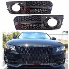 RS4 Glossy Black Front Bumper Fog Light Cover Grille for 09 10 11 12 Audi A4 B8