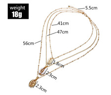 3pcs/set Fashion Gold Color Bohemian Shell Multi layer Necklace For Women Girl