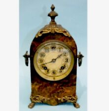 "American Marble Affect Metal Case Striking Mantle Clock c1900 11.5""H"