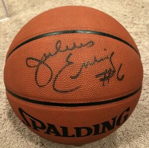 Julius Erving Signed Autographed Spalding Basketball w/ Cube Beckett BAS